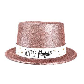 Chapeau plastique bonne année rose gold