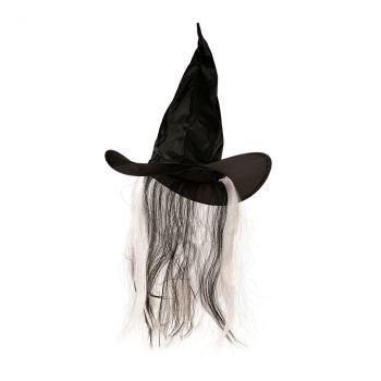 Chapeau sorcière avec cheveux halloween 3 modèles au choix