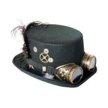 Chapeau steam avec plume et lunettes noir