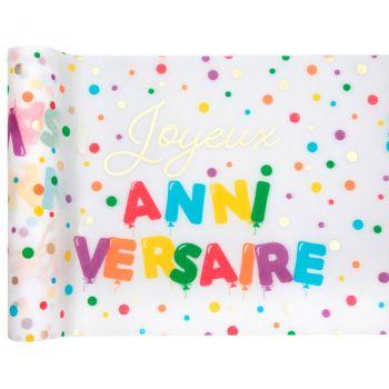 Chemin de table 28cmx3m joyeux anniversaire multicolore