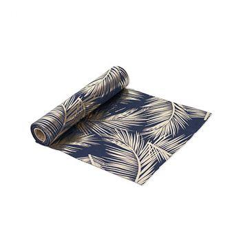 Chemin de table bleu marine fougères dorées 28cmx5m