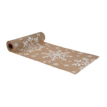 Chemin de table flocons 28cmx3m jute