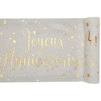 Chemin de table joyeux anniversaire blanc 28cmx3m