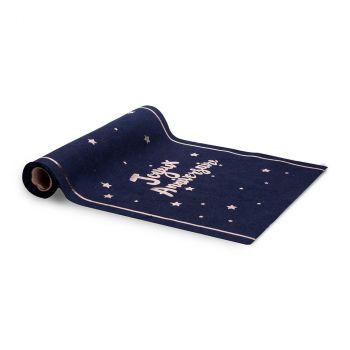 Chemin de table joyeux anniversaire lin bleu et or 28cmx5m