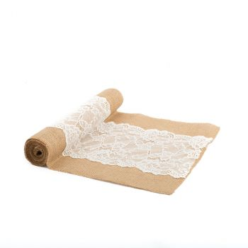 Chemin de table jute dentelle28cmx3m