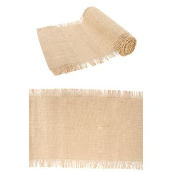 Chemin de table jute naturelle franges 29cmx5m