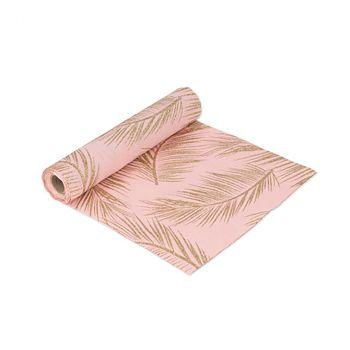 Chemin de table rose fougères dorées 28cmx5m