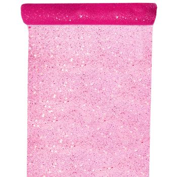 Chemin de table tulle pailleté fuchsia 30cmx5m