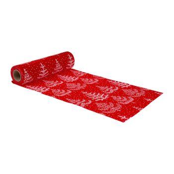 Chemin de table velours Alfred 28cmx5m blanc rouge