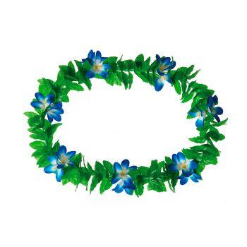 Collier hawai à fleurs bleu