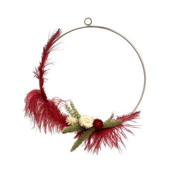 Composition florale bordeaux plumes 30cm