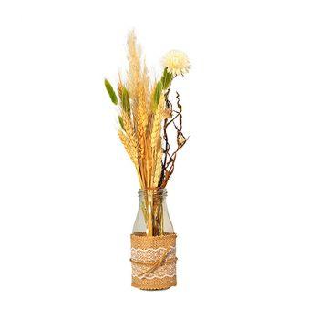 Composition florale naturelle avec bouteille 9x43