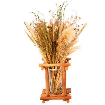 Composition florale naturelle avec pot 55cm
