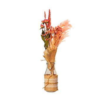 Composition florale rose avec bouteille 9x43