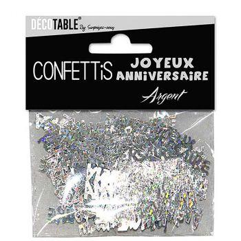 Confettis joyeux anniversaire argent