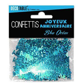 Confettis joyeux anniversaire bleu ocean