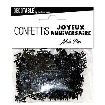 Confettis joyeux anniversaire noir pur