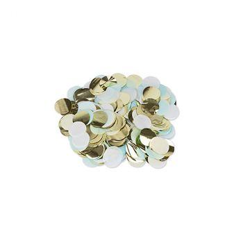 Confettis ronds ciel/blanc/or 3cm 36gr