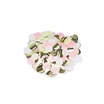 Confettis ronds rose/blanc/or 3cm 36gr