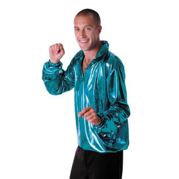 Costume homme chemise Disco Night turquoise
