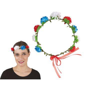 Couronne de fleurs bleu blanche et rouge