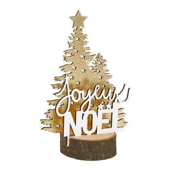 Déco Joyeux Noël bois 14cm or