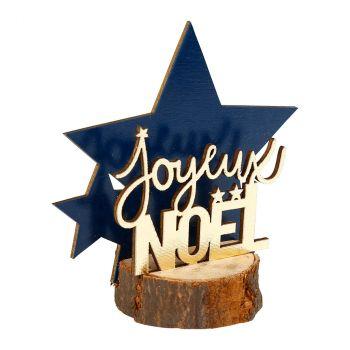 Déco Noël étoile bois 12cm bleu