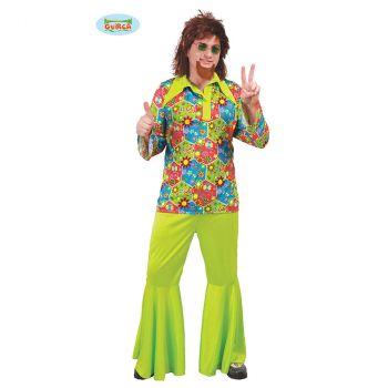 Déguisement homme Hippie vert