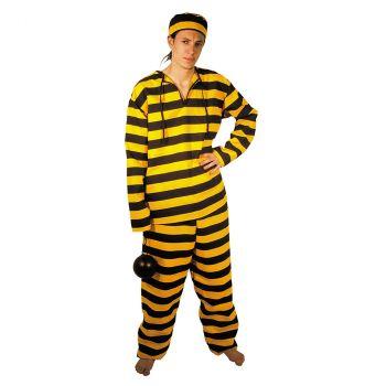 Déguisement homme prisonnier jaune et noir T U