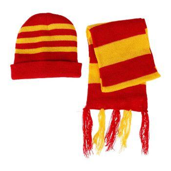 Ensemble bonnet et écharpe rayé en tricot