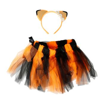 Ensemble tutu et serre-tête orange et noir halloween  TU