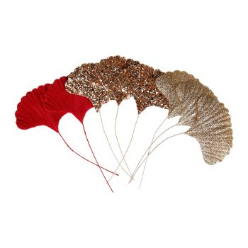Feuille Ginkgo sur tige 5x7cm x8