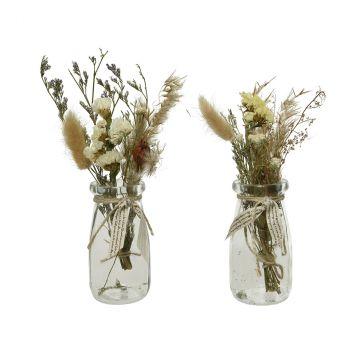 Fleurs séchées pot verre 2 couleurs au choix H20cm