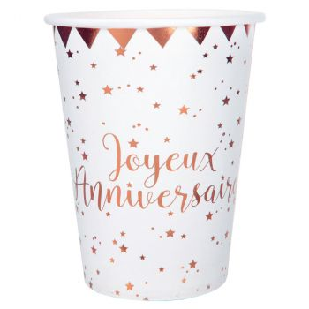 Gobelet anniversaire x10 blanc/rose gold