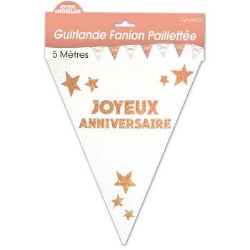 Guirlande fanion joyeux anniversaire pailletée cuivre