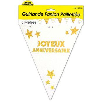 Guirlande fanion joyeux anniversaire pailletée or