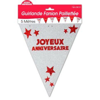 Guirlande fanion joyeux anniversaire pailletée rouge
