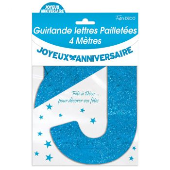 Guirlande joyeux anniversaire pailletée bleu 4m