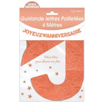 Guirlande joyeux anniversaire pailletée cuivre 4m
