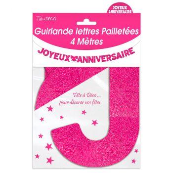 Guirlande joyeux anniversaire pailletée fuchsia 4m