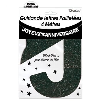 Guirlande joyeux anniversaire pailletée noir 4m
