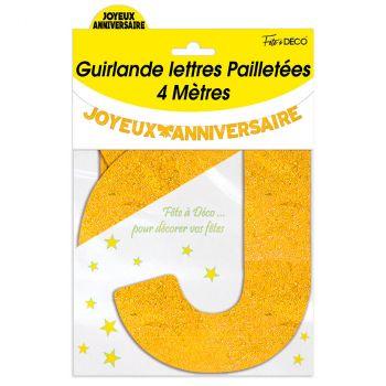 Guirlande joyeux anniversaire pailletée or 4m