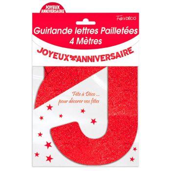 Guirlande joyeux anniversaire pailletée rouge 4m