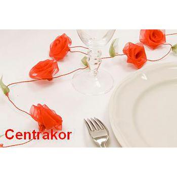 Guirlande rose organza rouge