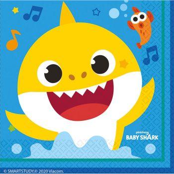 Les 16 serviettes Baby Shark 33 x 33 cm