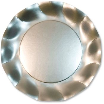 Lot de 10 assiettes argent satiné 27cm