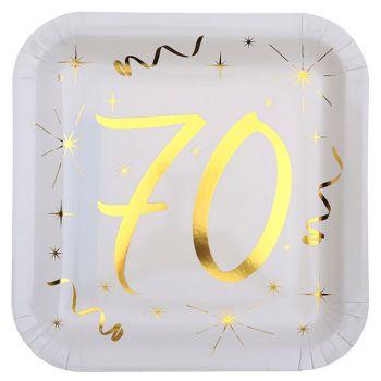 Lot de 10 assiettes carrées métallisées 70 ans 23cm