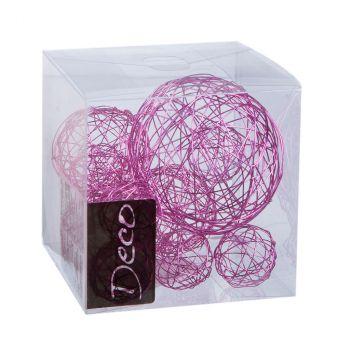 Lot de 10 balles fil métal rose