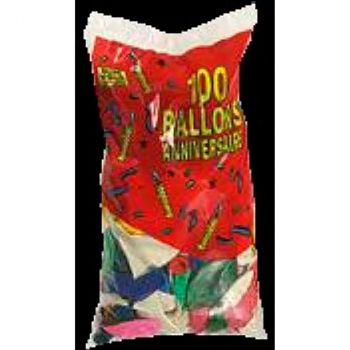 Lot de 10 ballons latex joyeux anniversaire multicolore