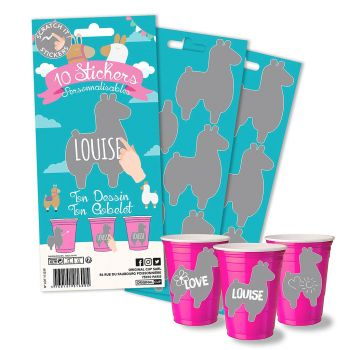 Lot de 10 stickers lama my cup